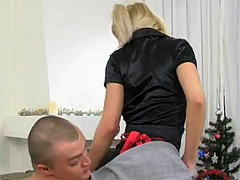 Pigtailed light-complexioned sweetie strokes increased by sucks a massive dick