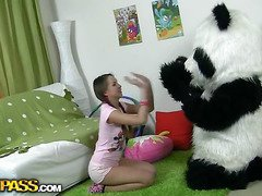 In this unusual sex clip u'll watch a bonny teenage hotty playing with toy. But it's not just a toy, it's a large panda bear, and this guy's so fun to play with! This Chab can do anything the angel wants, but this babe should strip stripped in return. But imagine the angel's surprise when that babe saw panda's huge strap on! This Babe had not convenient any time thought of him as sex partner previous to, but since this chab's so well-equipped and horny, why not go for a nasty sex play with him? So the panda bear banged the breasty teenage in all possible poses ...