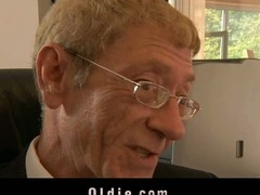 The most excellent way to get oldyoung fucking intercourse from your cleaning lady is to fire her. Then, that babe will do whatsoever necessary to please u. For this grandpa boss the pleasing comes when that babe goes down to give to his old schlong a precious oral-job